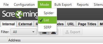 screaming frog mode list