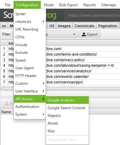 Screaming Frog Configuration API Access